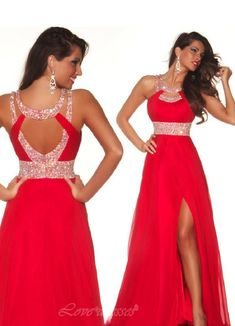 Sexy Prom Dresses, Best Selling A Line Red Chiffon Prom Dresses, Floor-length With Slit Open Back,Re on Luulla