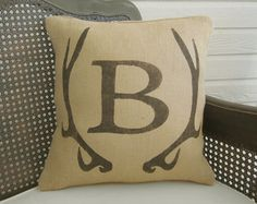 Deer Antler Monogram Pillow   Burlap Pillow  by nextdoortoheaven, $30.00