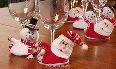Santas y muñecos de nieve para la mesa Navideña, 2015   Adornos de Navidad