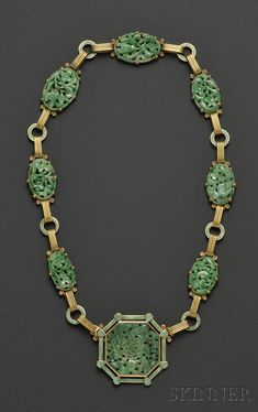 18kt Gold, Jadeite, and Enamel Necklace, Tiffany & Co., c. 1930s