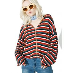 Cropped Stripe Zip Up Hoodie ($45) ❤ liked on Polyvore featuring tops, hoodies, striped crop top, zip up hoodies, cropped zip up hoodie, hooded zip up sweatshirt and striped hoodies