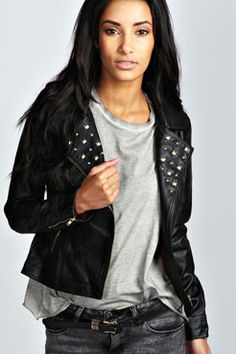 Liza Studded Faux Leather Biker Jacket at boohoo.com