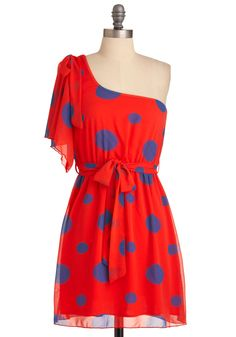 Dot Mention It Dress - Short, Red, Polka Dots, Bows, Mini, One Shoulder, Party, Statement, Purple