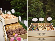 I love this for a Dessert table.  Made out of old desk drawers and lined with like a wax paper and filled with treats!