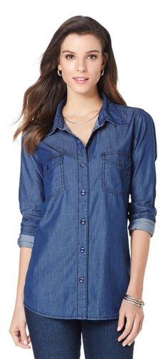 """No boyfriend, no problem! Get that """"borrowed from the boys"""" look with this lightweight chambray shirt. Proportioned for a lady, but with a roomy fit, it arrives feeling already broken in! How would you style this essential top?"""