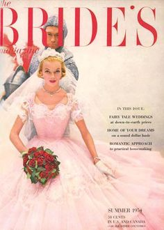 Colored, non-traditional white, wedding gowns aren't a new occurrence. Here is a soft pink dress from 1954.