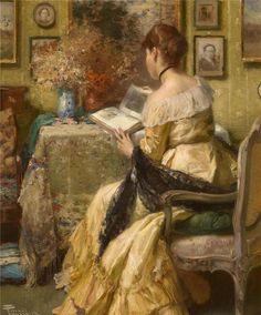 belle-art: Albert Chevallier Tayler (1862-1925) - Libro Una dama leyendo un -