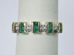 10K YELLOW GOLD RING GENUINE EMERALD .05 CT TW  DIAMOND PRINCESS CUT BAND SIZE 7 #Band
