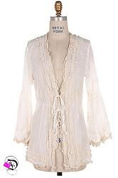 Long Sleeve Ivory Crochet Bell Sleeve Cardigan $52.99 Divalicious