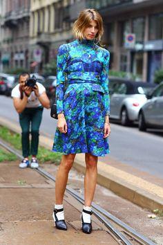 I dig the dress..i'm choosing to ignore her shoes and socks.  Veronika Heilbrunner in Erdem