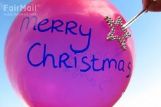 Merry Christmas - Pink - Balloon - Photographed by Joued Taoussi - Morroco - FairMail - Fair Trade Photos - MJAT-0017