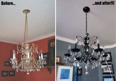 Before and after DIY - how to paint a chandelier (metal) - primer paint & sealer