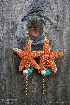 Estrella de mar real cuelgan aretes estrellas por KaliaKaiDesigns
