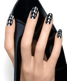 Sky High - Metallic Black Nail Art Design - Essie Nail Polish Looks