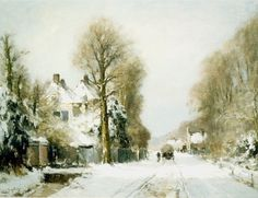 Louis Apol - Gezicht op Rijksstraatweg in winters Den Haag