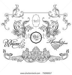 Vintage Floral Decorative Frame Vector Set Stock Vektorképek és Vektor Clip Art | Shutterstock