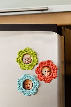 Crocheted Refrigerator Magnet Picture Frames