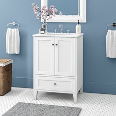 Beachcrest Home Georgina Single Bathroom Vanity Set Base Finish: White Cabinet Handles, Cabinet Doors, Woodsy Decor, Wicker Armchair, Ceramic Undermount Sink, Gold Framed Mirror, Single Sink Bathroom Vanity, Bathroom Vanities, Bathrooms