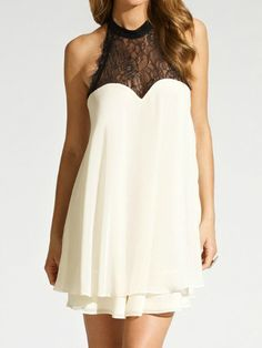 White Layeres Lace Panel Dress With Bow In Back