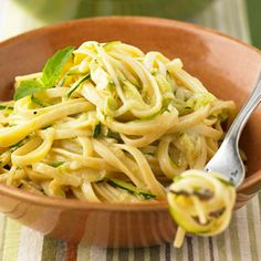 Ingredients: 12 oz. linguine (Reserve 1/2 cup cooking water). 1/4 cup olive oil 2 small or 1 large zucchini, sliced or chunked 1-2 cups diced bell pepper (any color) 3 tablespoons chopped herbs (fr…