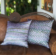 """Luxary silk pillow covers 18"""", Cushion cover Lavender and green designer pillow, Silk pillow case, Natural silk zigzag stripes print on silk"""
