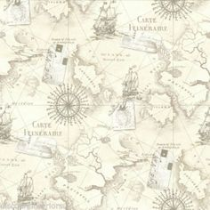 NAVIGATOR VINTAGE MAP NEUTRAL WALLPAPER - ARTHOUSE VIP 622003 FEATURE WALL NEW