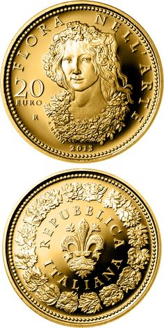 N♡T.20 euro: Flora in the Art: The Renaissance.Country: Italy Mintage year: 2013 Issue date: 05.06.2013 Face value: 20 euro Diameter: 21.00 mm Weight: 6.45 g Alloy: Gold Quality: Proof Mintage: 1,500 pc proof
