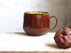 mug, tea cup, coffee cup, brown and yellow, unique pottery, handmade ceramics, designer ceramics, unique ceramic gift, faceted surface