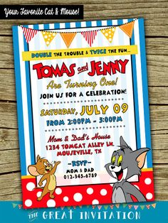 EDITABLE TEXT Tom and Jerry Birthday Invitation Tom and Jerry