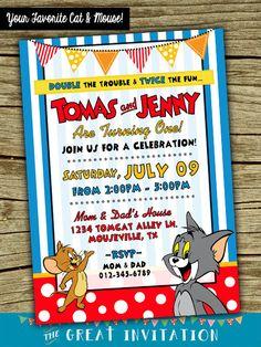 Tom y Jerry doble invitación fiesta de por TheGreatInvitation