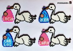 Storks delivering babies hama perler beads - Custom order and original pattern by PixelenaMV on deviantART