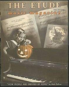 Vintage Halloween Ephemera ~ The Etude Music Magazine ©Oct., 1939 Little Girl w/ Jack O' Lantern Piano Recital