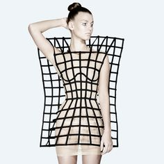 Architectural Fashion - structural grid dress with bold symmetry & 3D cage construct - experimental fashion design; wearable art // Chromat