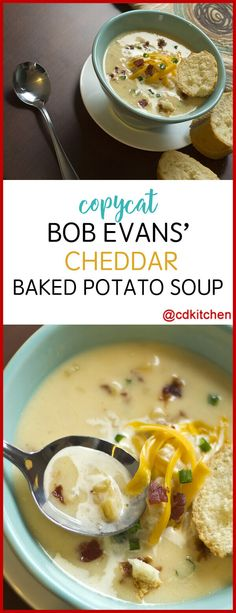 potato soup Copycat Bob Evans Cheddar Baked Potato Soup - Make this favorite cheesy potato soup from Bob Evans at home! Made with condensed cheddar cheese soup, chicken broth, milk, Chedd Cheddar Broccoli Potato Soup, Potato Cheese Soups, Best Potato Soup, Cheddar Potatoes, Cheesy Potato Soup, Cheddar Cheese Soup, Loaded Baked Potato Soup, Cheesy Potatoes, Bob Evans Potato Soup Recipe