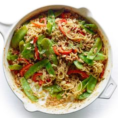 Chicken Dan-Dan Noodles | MyRecipes.com -- easily veganized, substituting pressed, crumbled tofu for the ground chicken, and vegan brother for the chicken broth