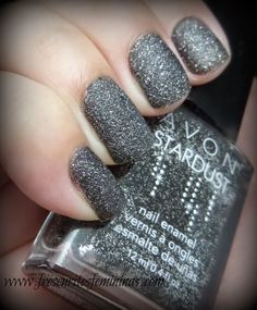 Can't seem to ever keep black polish on long I always feel gothic or something! But I seriously love this stuff! Avon Stardust - Black Sequins