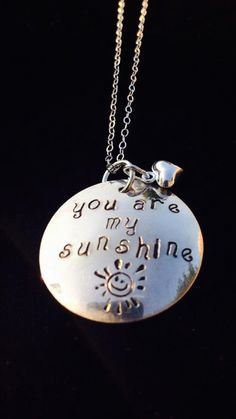 cc6489039a Tickle Bug Jewelry <3 · You Are My Sunshine hand-stamped sterling silver  pendant with tiny heart charm by TickleBugJewelry