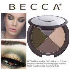 Becca Ultimate Eye Colour Quad - Eclipsed Large Luxe Palette of Smooth Eyeshadows in matte, demi-matte & metallic to color, contour & highlight. Highly pigmented mineral powders build quickly & blend easily for lasting silky smooth finish. This quad of velvety smooth powder shadows are: Eclipsed - metallic silver/ metallic champagne/ metallic khaki/metallic moss. Retails for $40!! BNIB. Never used or swatched. 100% Authentic. No Trades, No PP. Becca Makeup Eyeshadow