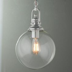 Check out Clear Glass Globe Industrial Pendant from Shades of Light