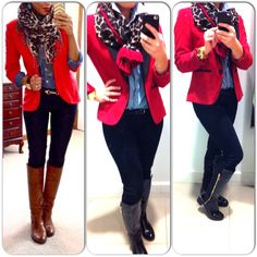 Ootd, outfit, jeans, blazer,blouse, scarf, boots, leopard print, red www.mbstyliste.ca Facebook to ❤️