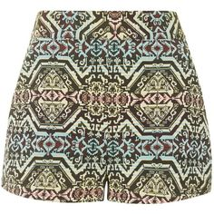 TOPSHOP Jacquard High-Waisted Shorts (899.960 IDR) ❤ liked on Polyvore featuring shorts, short, multi, short shorts, highwaist shorts, jacquard shorts, pattern high waisted shorts and high waisted print shorts