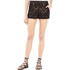 BCBGMAXAZRIA Womens Lilli Lace Boxing Short Black Medium ** Check this awesome product by going to the link at the image. (This is an affiliate link) Spring Shorts, Easy Stretches, Black Lace Shorts, Shorts With Pockets, Lace Knitting, Fashion Outlet, Floral Lace, Floral Motif, Short Dresses