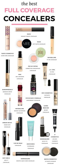 The best full-coverage concealers | The best concealers for under eye circles and blemishes in every price range that provide full coverage for dark circles and spots. | Best concealers, best makeup, ride or die makeup, favorite makeup, favorite concealers, concealer for dark circles, beauty secrets, beauty tips, makeup artist favorite concealers, Tarte Shape Tape, NARS Radiant Concealer, Maybelline Fit Me, color correcting concealer, Florida beauty blogger Ashley Brooke Nicholas