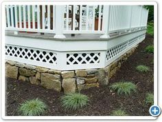 Nice stone and lattice detail for deck foundation.