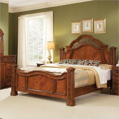 wynwood terrassa mansion low post king panel bed in amber cherry 175990x