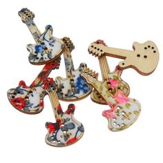 Souarts Mixed Guitar Shape 2 Holes Wooden Buttons Flower Printed Pack of 50pcs -- You can get additional details at the image link.