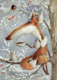 """Painting by Robbyn Moore """"Though my soul may set in darkness, it will rise in perfect light; I have loved the stars too fondly to be fearful of the night. Fuchs Illustration, Winter Illustration, Children's Book Illustration, Photo Images, Fox Art, Winter Pictures, Whimsical Art, Christmas Art, Animal Paintings"""