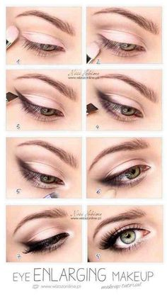 Eye Enlarging makeup- simply put smudged eyeliner or shadow in the outer corner of eyes. Then, apply white eyeliner in your waterline. Lastly, put white eyeshadow or hilighter in the inner corner of your eyes. Pretty Makeup, Love Makeup, Easy Makeup, Gorgeous Makeup, Makeup For Small Eyes, Simple Makeup, Perfect Makeup, Bigger Eyes Makeup, Makeup Stuff