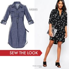 Customer favorite pattern: McCall's M6885 shirtdress. Sew the look by making it out of a pretty silk crepe de chine print.