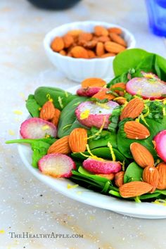 Roasted Radish, Spinach and Almond Salad with Balsamic Coconut Vinaigrette  TheHealthyApple.com #glutenfree #recipe #healthy